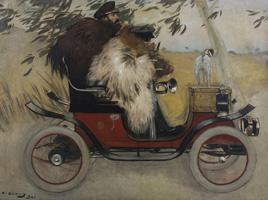 La pintura Ramon Casas i Pere Romeu en un automòbil ingressa al MNAC cedida per la Generalitat
